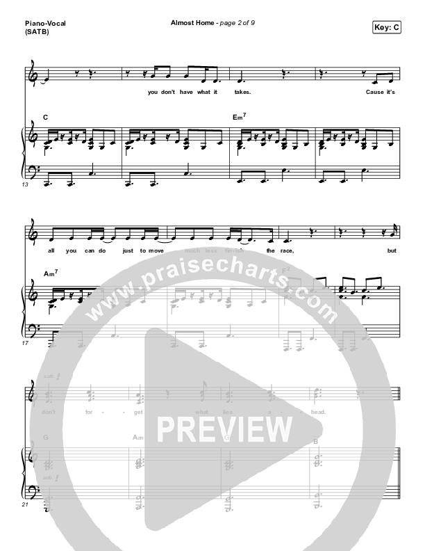 Almost Home Piano/Vocal (SATB) (MercyMe)