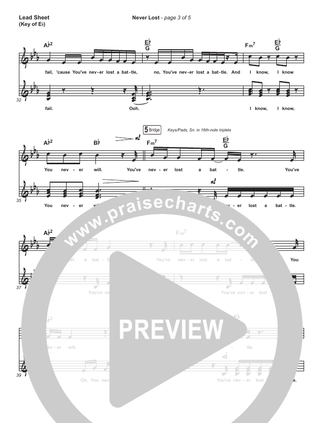 Never Lost Lead Sheet (Melody) (Elevation Worship)