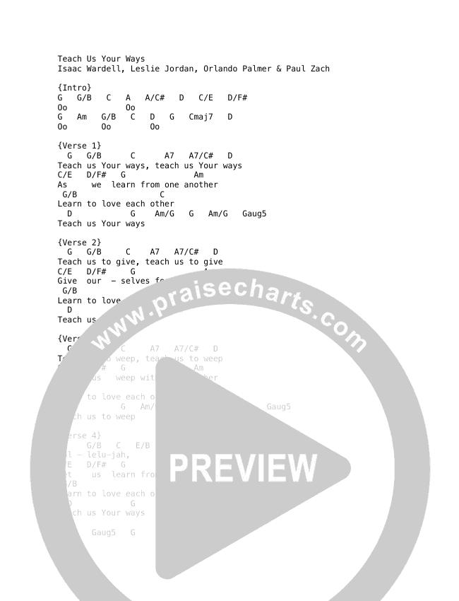 Teach Us Your Ways Chord Chart (The Porter's Gate / Audrey Assad)
