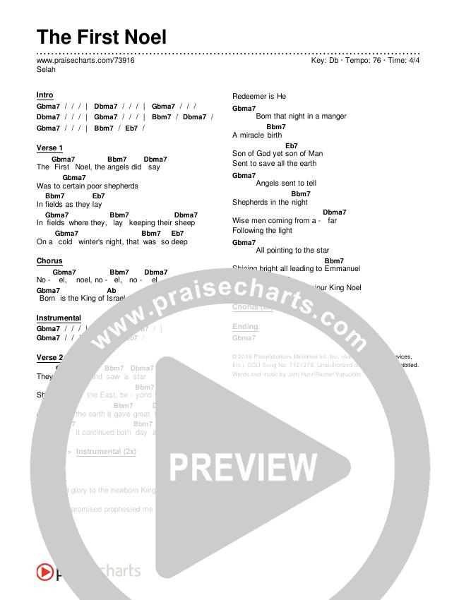 The First Noel Chords & Lyrics (Planetshakers / Selah / Planetshakers)