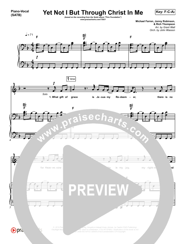 Yet Not I But Through Christ In Me Piano/Vocal (SATB) (Selah)