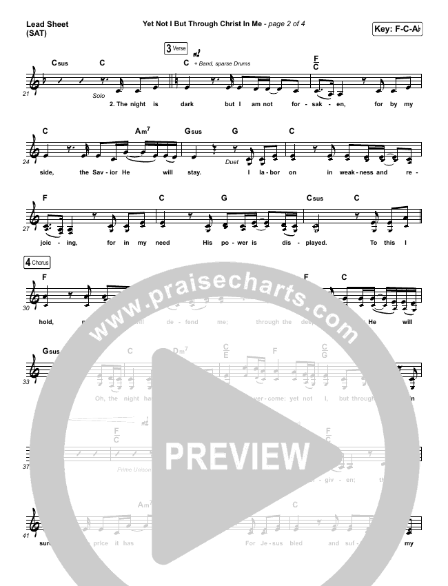 Yet Not I But Through Christ In Me Lead & Piano/Vocal ()