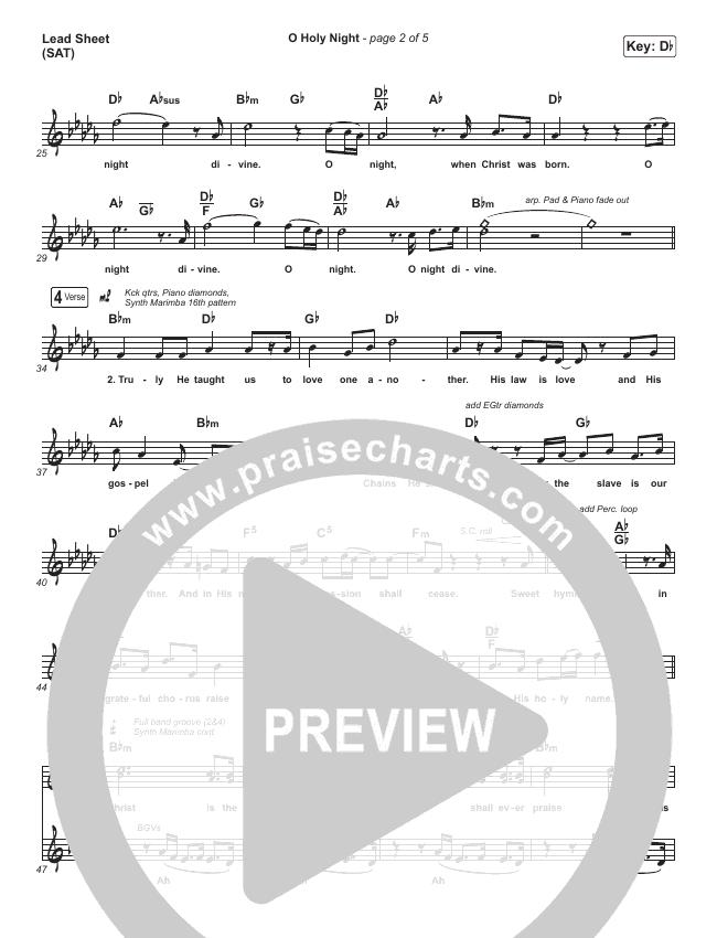 O Holy Night Lead Sheet (SAT) (Planetshakers)
