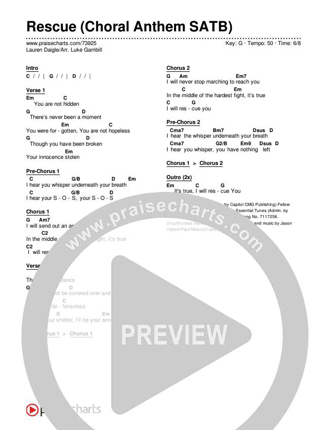 Rescue (Choral) Chords & Lyrics (Lauren Daigle)