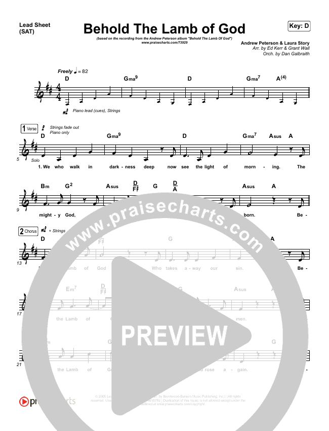 Behold The Lamb Of God Lead Sheet (SAT) (Andrew Peterson)