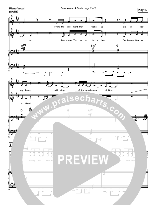 Goodness Of God Piano/Vocal (SATB) (One Sonic Society)