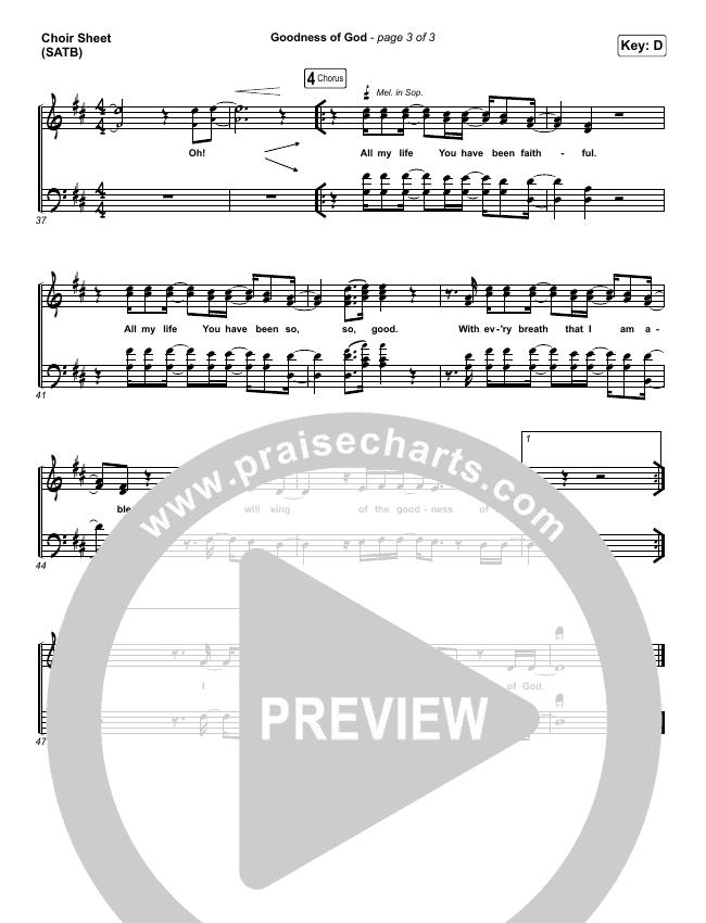 Goodness Of God Choir Sheet (SATB) (One Sonic Society)