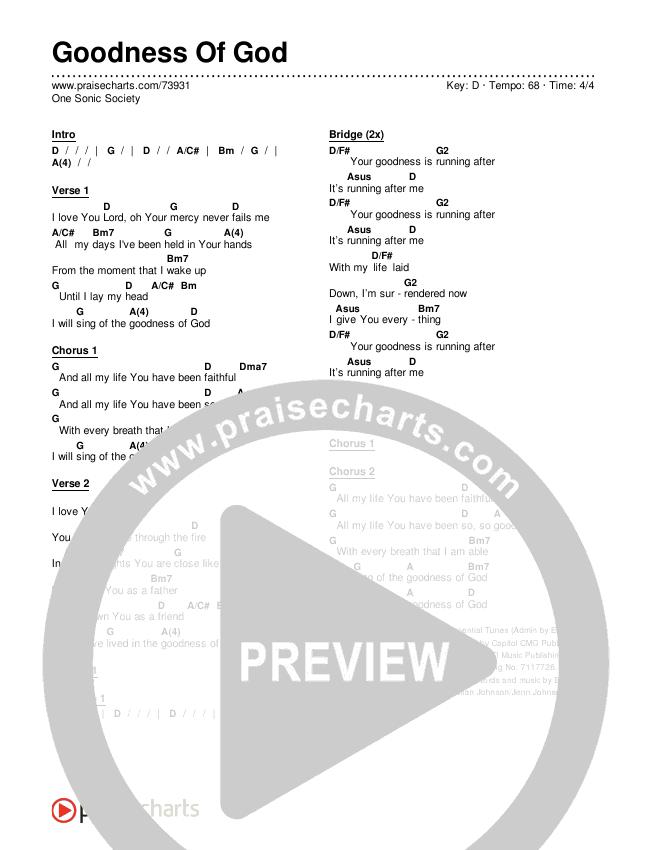 Goodness Of God Chords & Lyrics (One Sonic Society)