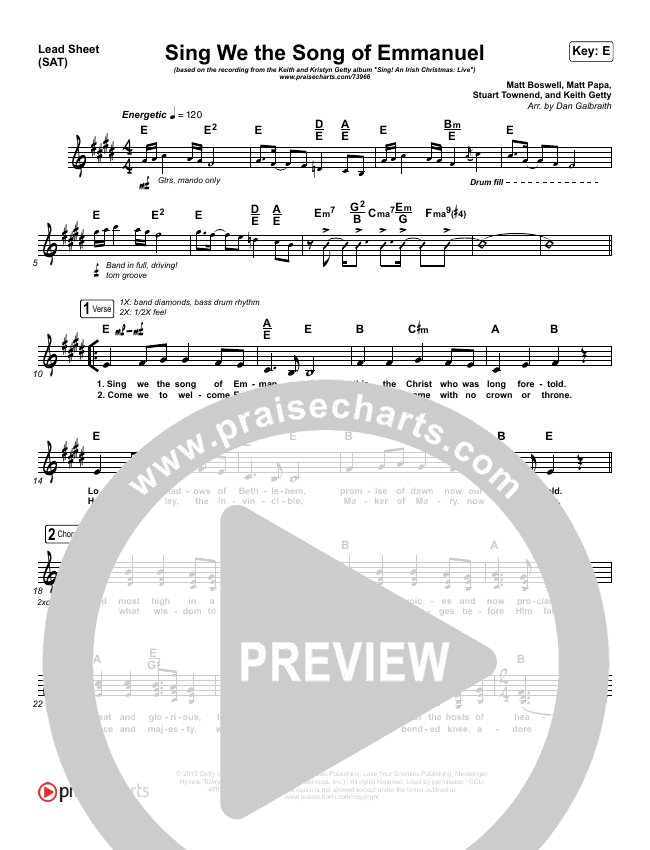 Sing We The Song Of Emmanuel Lead & Piano/Vocal (Matt Boswell / Matt Papa / Keith & Kristyn Getty)