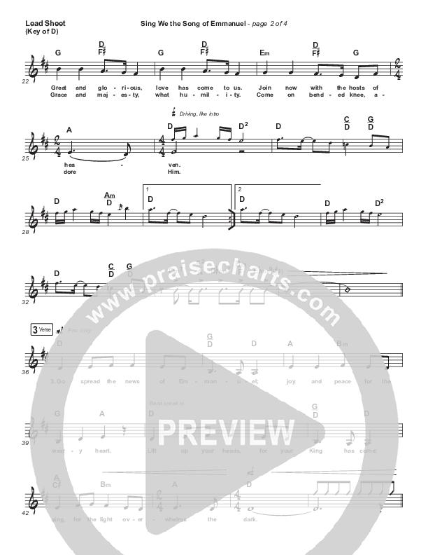 Sing We The Song Of Emmanuel Lead Sheet (Melody) (Matt Boswell / Matt Papa / Keith & Kristyn Getty)