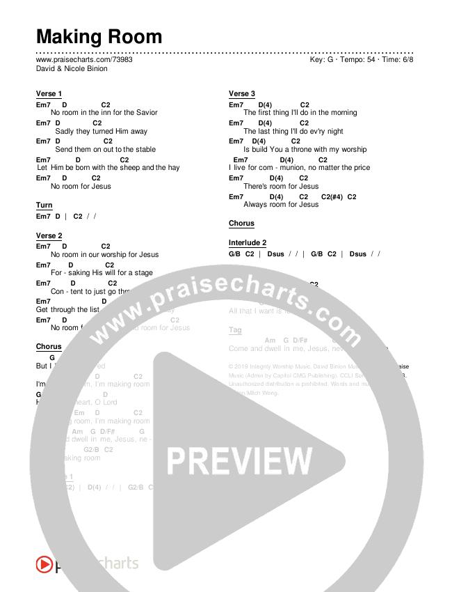 Making Room Chords & Lyrics (David & Nicole Binion)