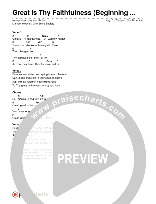 Great Is Thy Faithfulness (Beginning To End) (Simplified) Chord Chart (One Sonic Society / Michael Weaver)