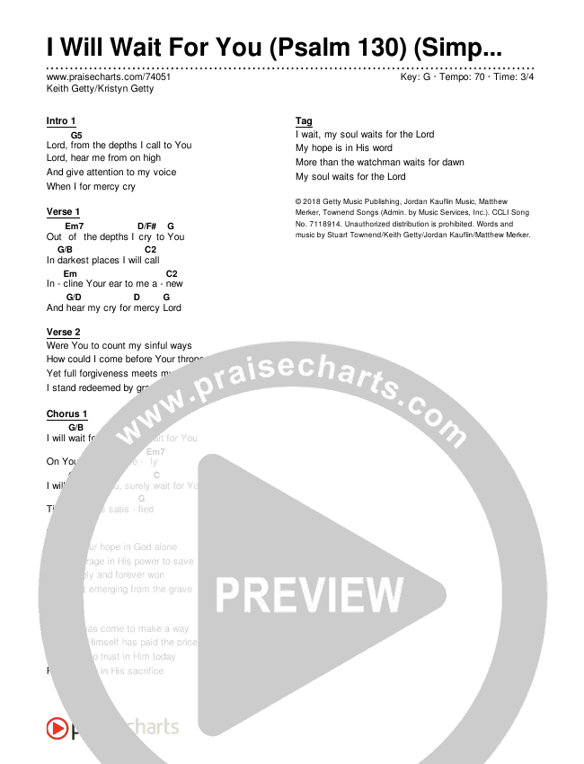 I Will Wait For You (Psalm 130) (Simplified) Chord Chart (Keith & Kristyn Getty)