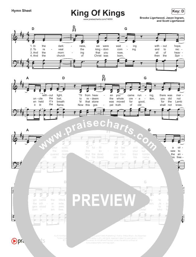 King Of Kings (Simplified) Hymn Sheet (Hillsong Worship)