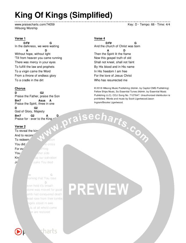 King Of Kings (Simplified) Chord Chart (Hillsong Worship)
