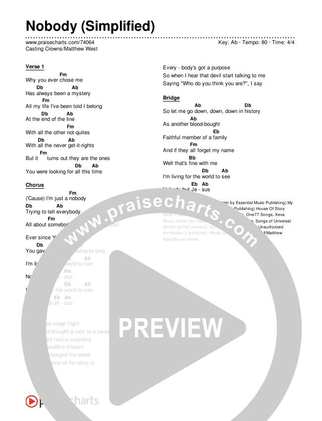 Nobody (Simplified) Chords & Lyrics (Casting Crowns / Matthew West)