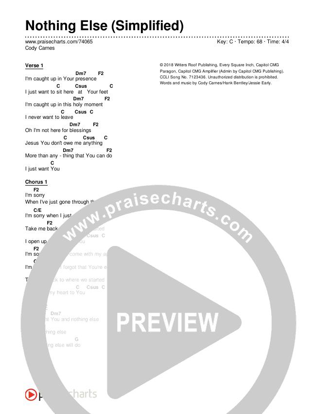 Nothing Else (Simplified) Chords & Lyrics (Cody Carnes)