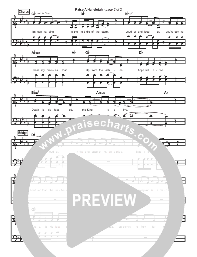 Raise A Hallelujah (Simplified) Hymn Sheet (Bethel Music / Melissa Helser / Jonathan David Helser)