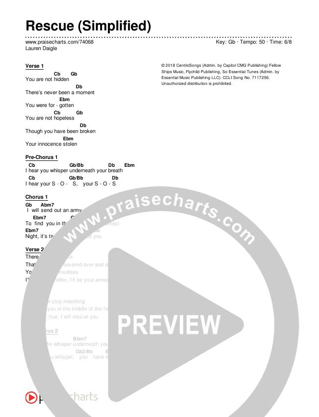 Rescue (Simplified) Chord Chart (Lauren Daigle)