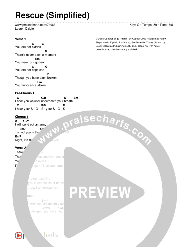 Rescue (Simplified) Chord Chart (Lauren Daigle)