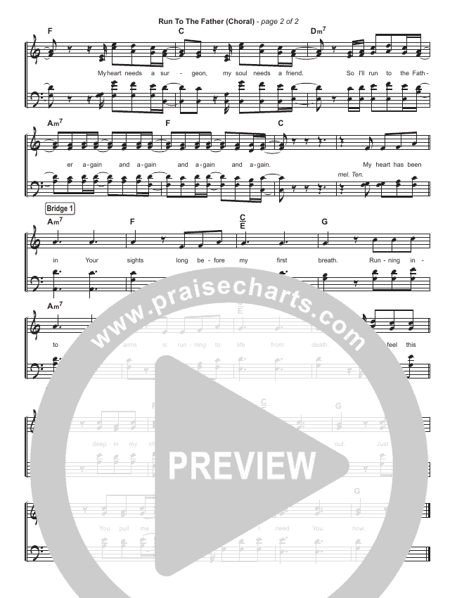 Run To The Father (Simplified) Hymn Sheet (Cody Carnes)
