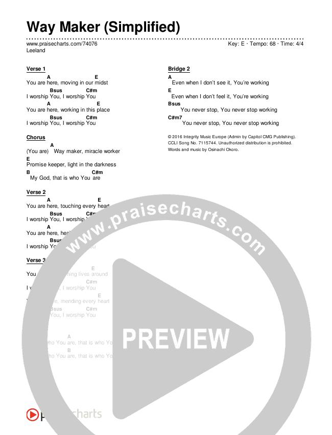 Way Maker (Simplified) Chord Chart (Leeland)