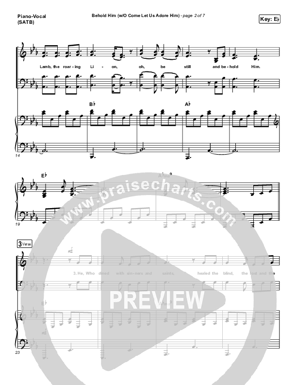 Behold Him (with O Come Let Us Adore Him) Piano/Vocal (SATB) (Paul Baloche)