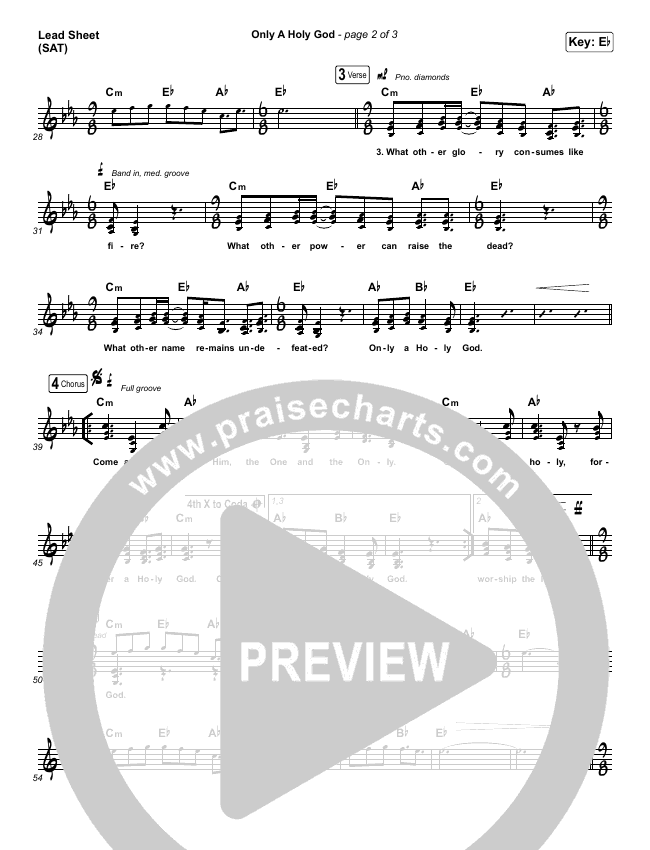 Only A Holy God (Choral) Piano/Vocal (SATB) (PraiseCharts Choral / CityAlight)