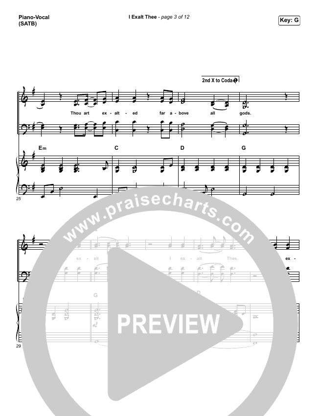 I Exalt Thee Piano/Vocal (SATB) (Jesus Culture / Chris Quilala)