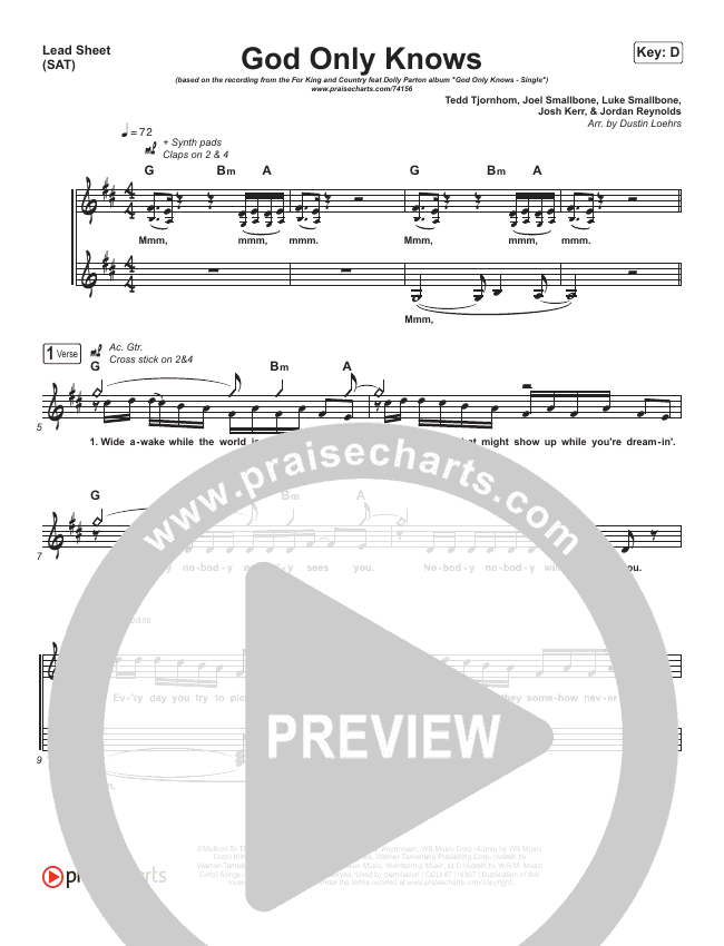God Only Knows Lead Sheet (SAT) (for KING & COUNTRY / Dolly Parton)