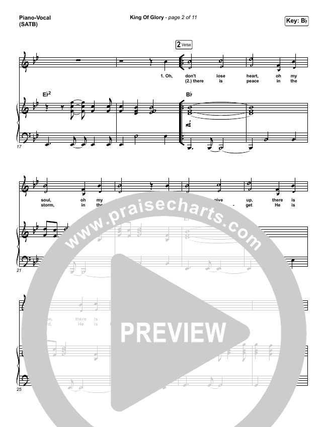 King Of Glory (Live) Piano/Vocal (SATB) (Passion)