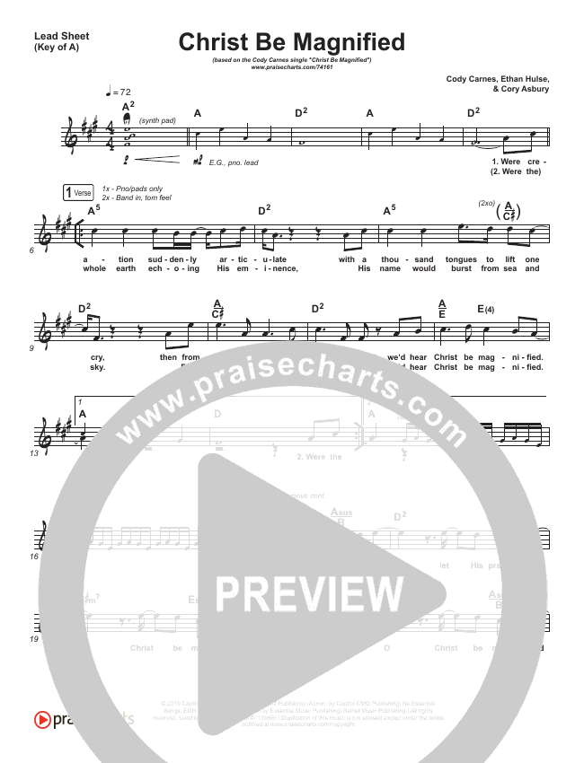 Christ Be Magnified Lead Sheet (Melody) (Cody Carnes)