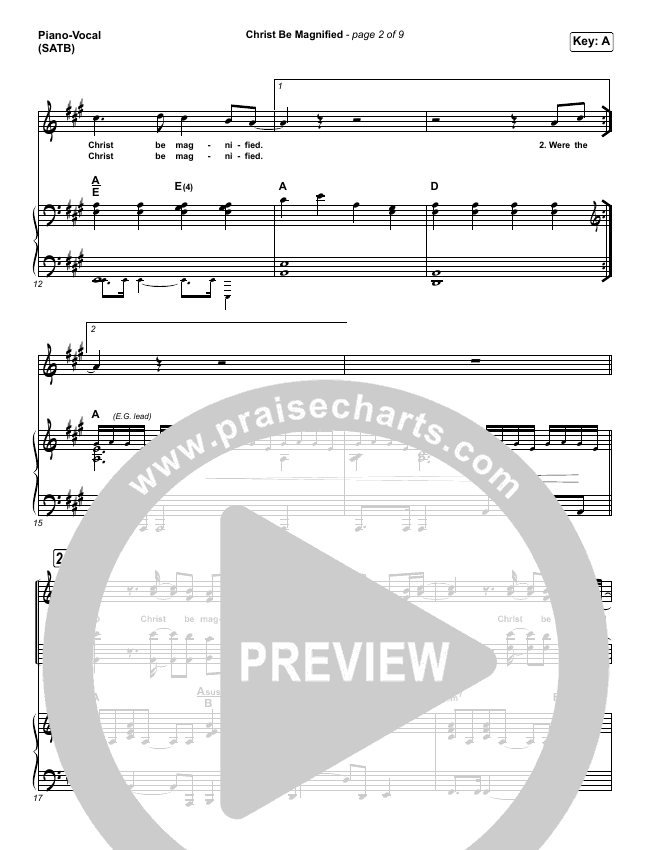 Christ Be Magnified Piano/Vocal (SATB) (Cody Carnes)
