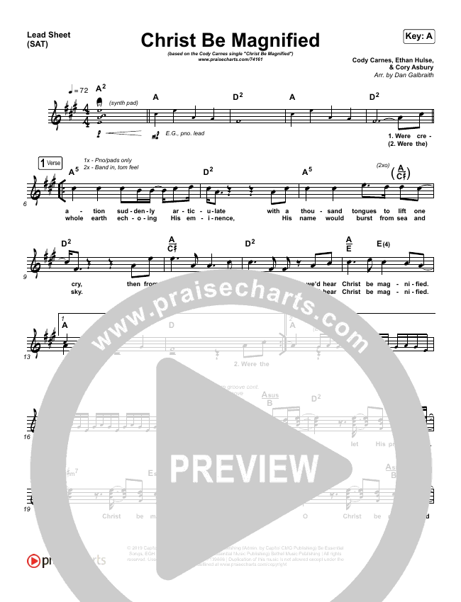 Christ Be Magnified Piano/Vocal Pack (Cody Carnes)
