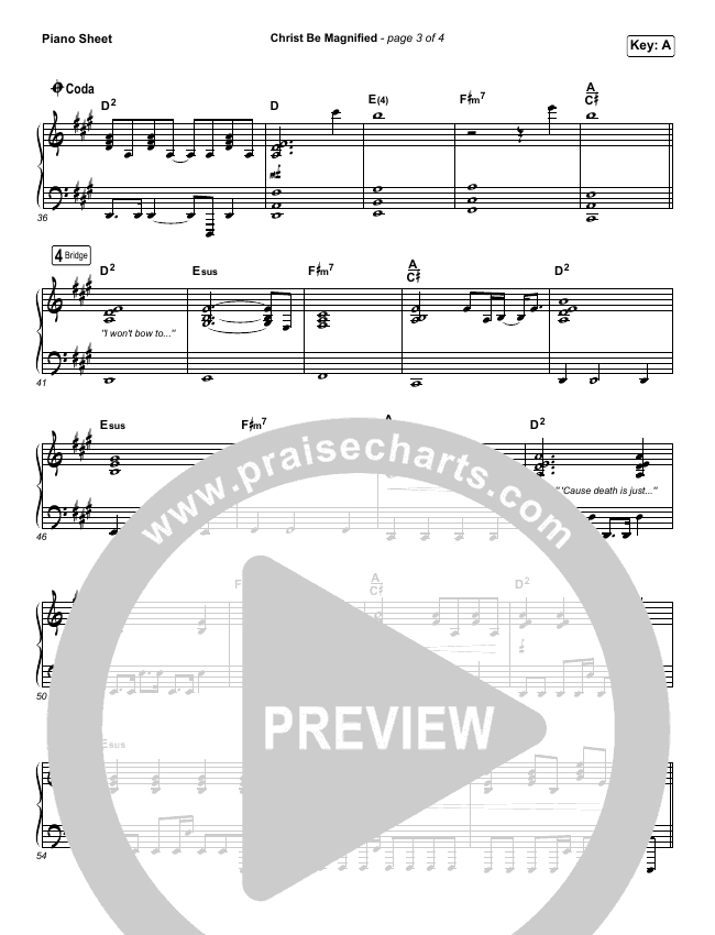 Christ Be Magnified Piano Sheet (Cody Carnes)