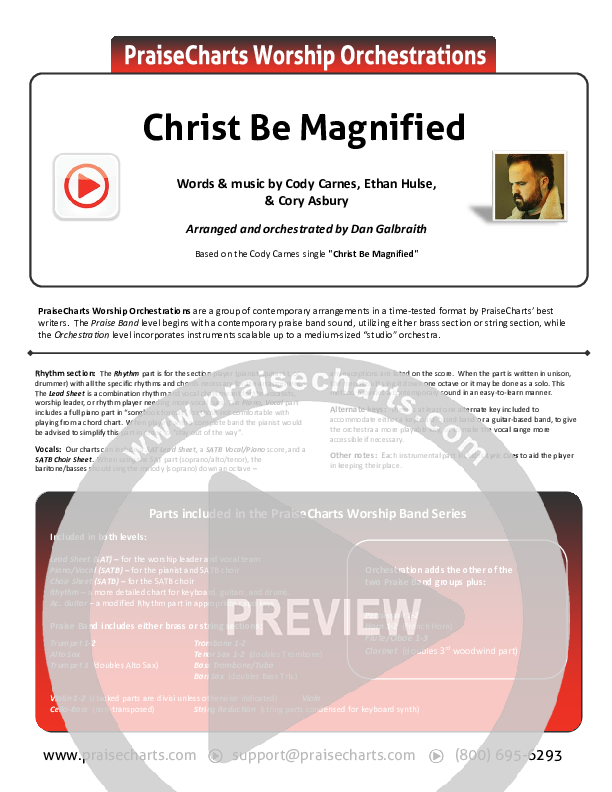 Christ Be Magnified Orchestration (Cody Carnes)