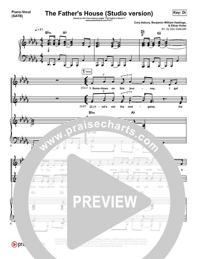 The Father's House (Studio) Piano/Vocal (SATB) (Cory Asbury)