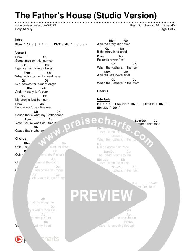 The Father's House (Studio) Chords & Lyrics (Cory Asbury)