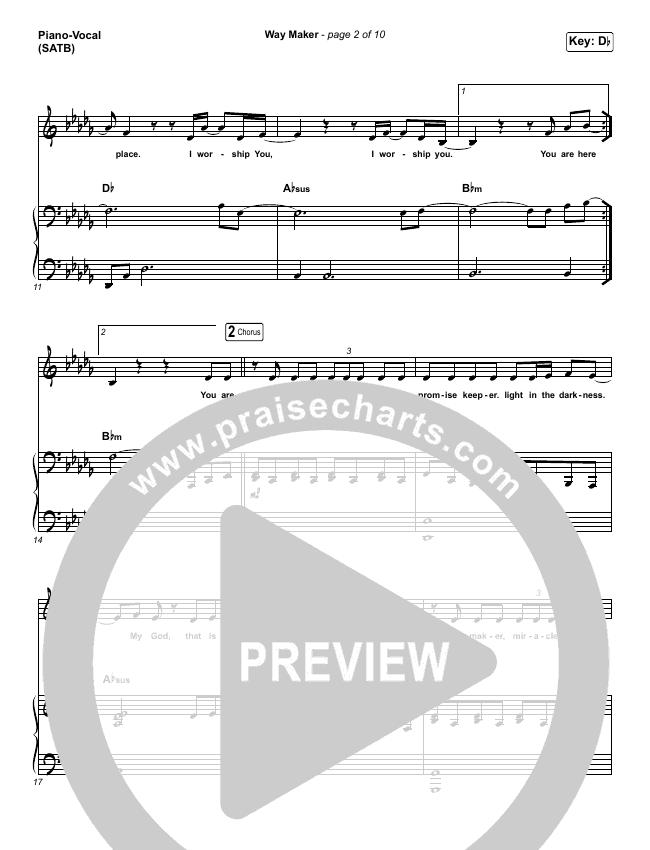 Way Maker (Live At Bethel) Piano/Vocal (SATB) (Paul McClure / Hannah McClure / The McClures)