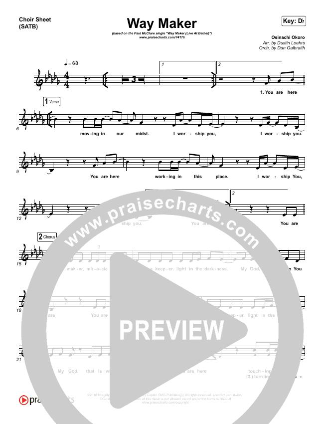 Way Maker (Live At Bethel) Choir Sheet (SATB) (Paul McClure / Hannah McClure / The McClures)