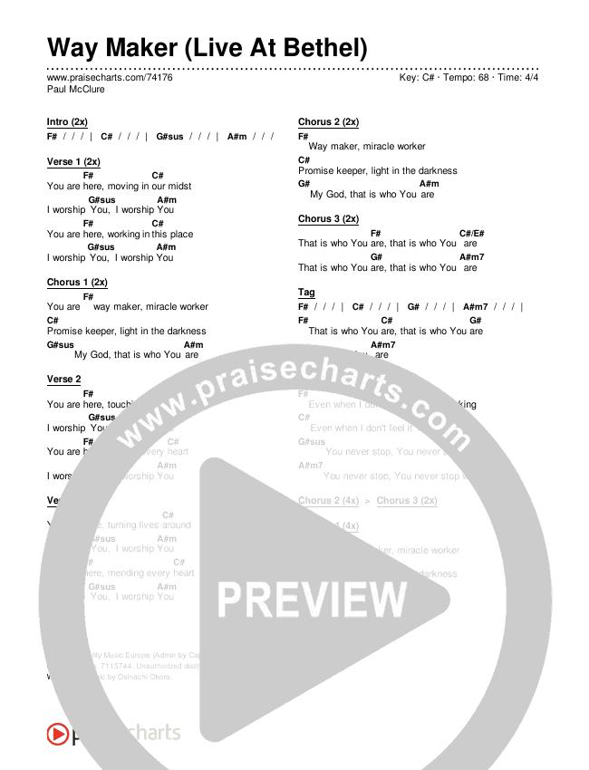 Way Maker (Live At Bethel) Chords & Lyrics (Paul McClure / Hannah McClure / The McClures)