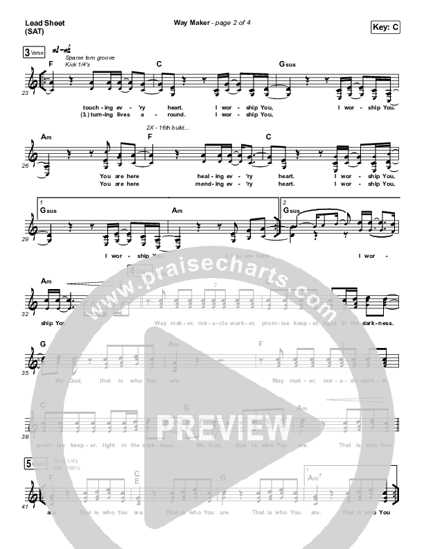 Way Maker (Live At Bethel) Lead & Piano/Vocal (Paul McClure / Hannah McClure / The McClures)