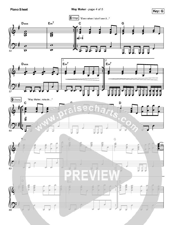 Way Maker (Live At Bethel) Piano Sheet (Paul McClure / Hannah McClure / The McClures)