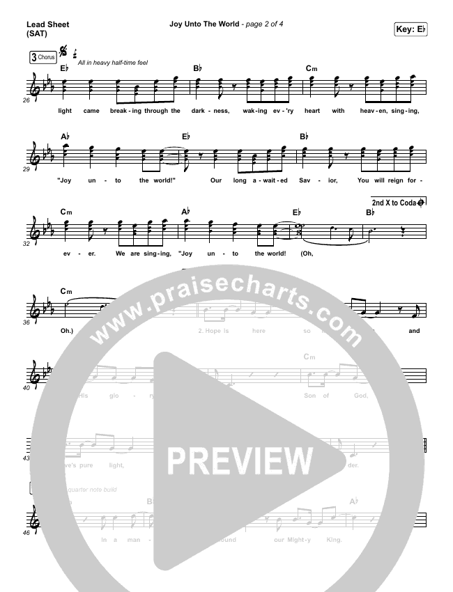 Joy Unto The World Lead Sheet (SAT) (The Afters)