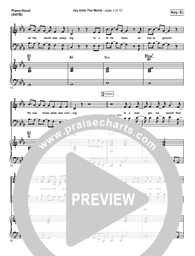 Joy Unto The World Piano/Vocal (SATB) (The Afters)