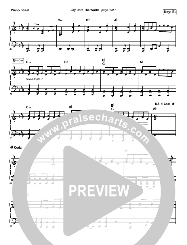 Joy Unto The World Piano Sheet (The Afters)