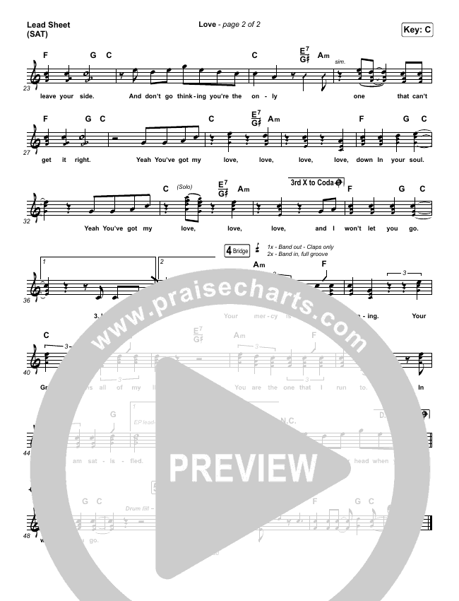 Love Lead Sheet (SAT) (We Are Messengers)