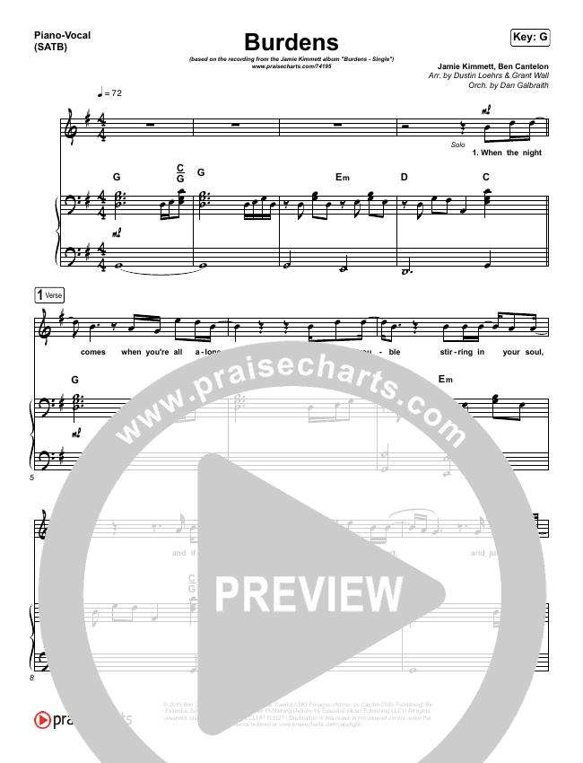 Burdens Piano/Vocal (SATB) (Jamie Kimmett)