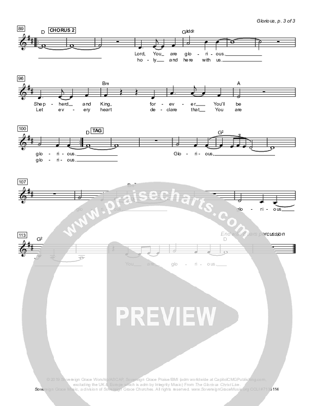 Glorious Lead Sheet (SAT) (Sovereign Grace)