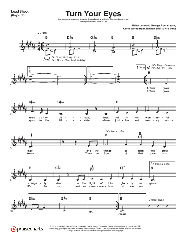 Turn Your Eyes Lead Sheet (Melody) (Sovereign Grace)
